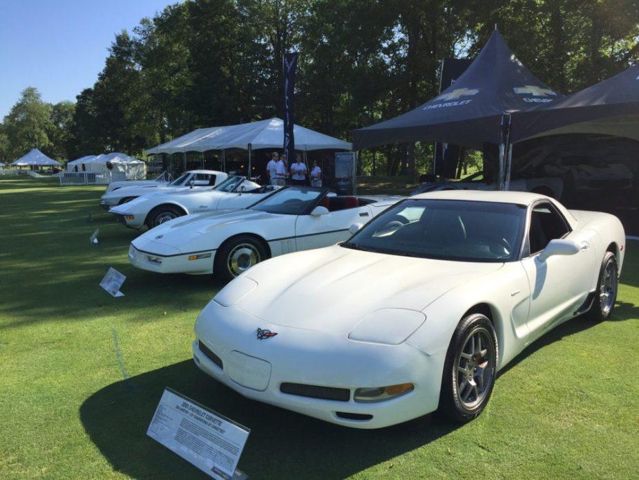 Carbon 65 Corvette C7 with C5, C4, C3, C2, and C1 Corvettes