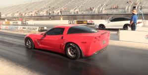 A Drag racing C6 Corvette with a big shot of nitrous.