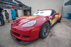 The Lightning McQueen Corvette.
