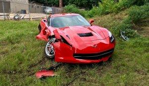 Wrecked Corvette Front