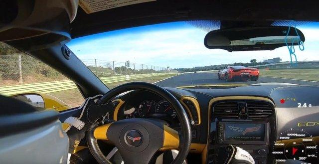 Corvette Passing Ferrari