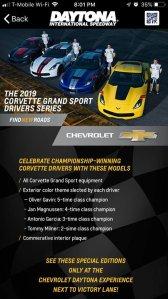 Corvette Grand Sport Drivers Series App View