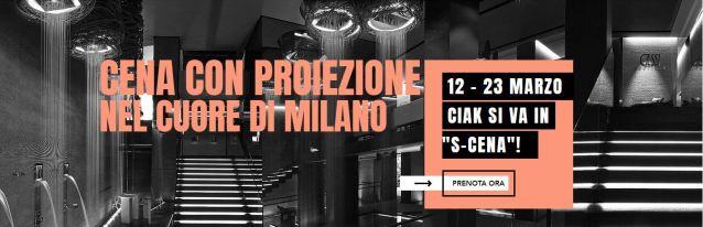 Cena con proiezione nel cuore di Milano