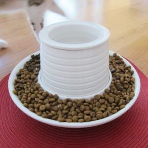 El comedero de diseño está hecho de cerámica de alta calidad