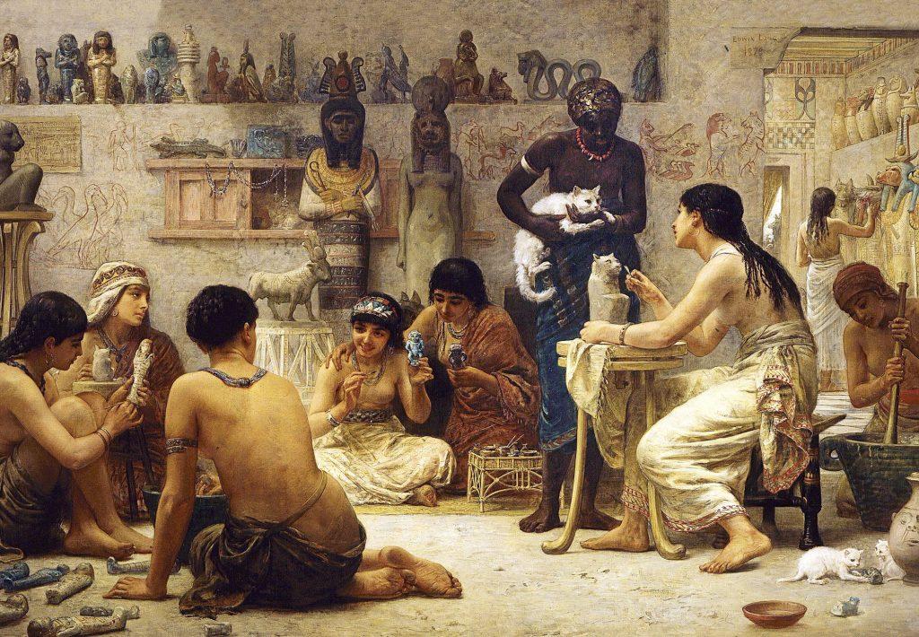 Los gatos durante el Antiguo Egipto, presentes en ámbitos como el doméstico yel religioso. Óleo por Edwin Long (1878)