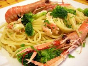 Spaghetti broccoletti scampetti