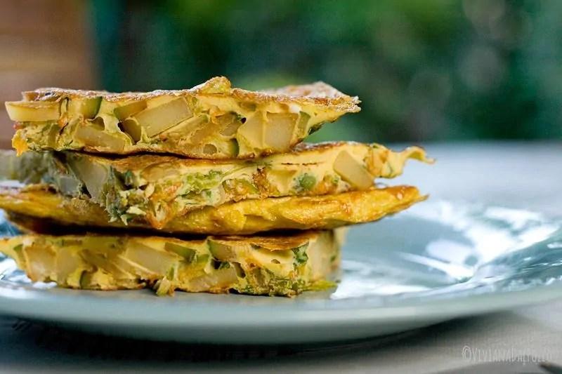 frittata patate e fiori di zucca