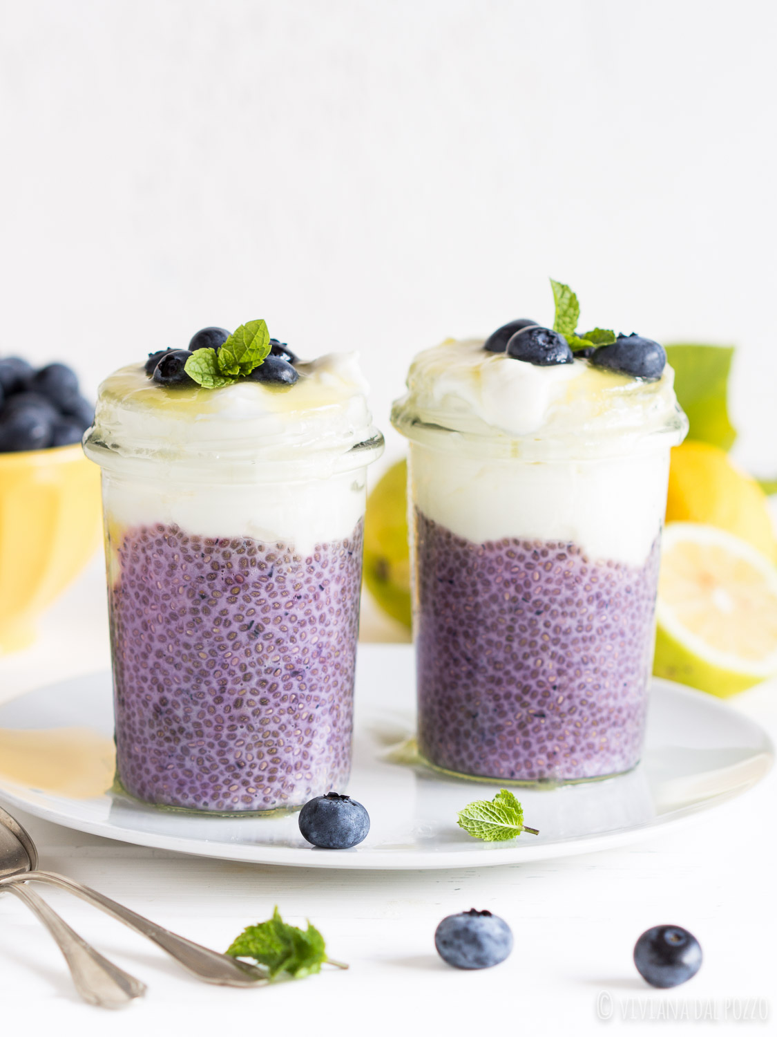 Chia pudding con yogurt e mirtilli