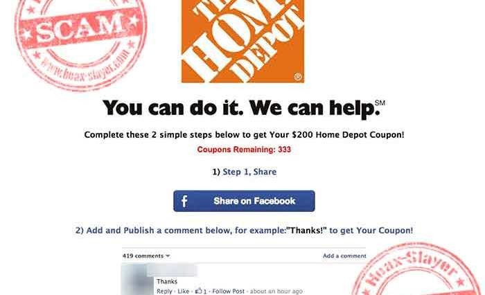 home depot coupon survey scam