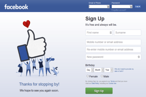 facebook sign up page