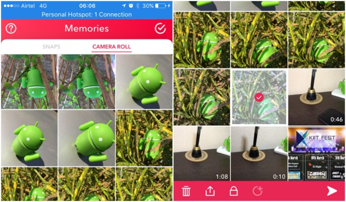 adding pictures from camera roll