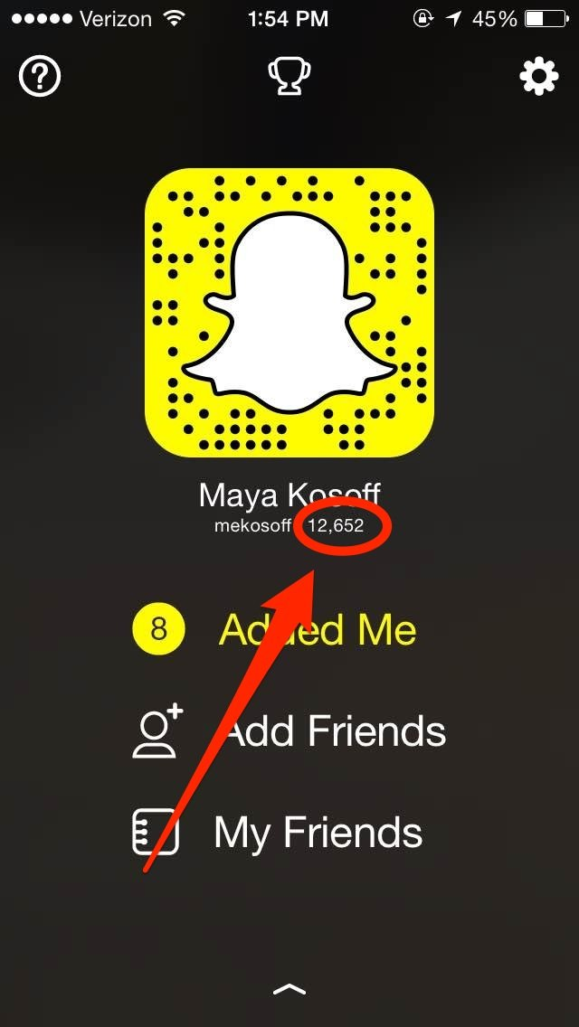 What does snapchat score mean 2019