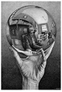 Mano con sfera riflettente - Escher