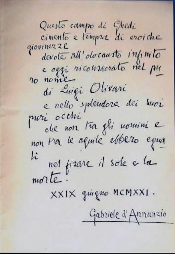 Dedica autografata di Gabriele d'Annunzio