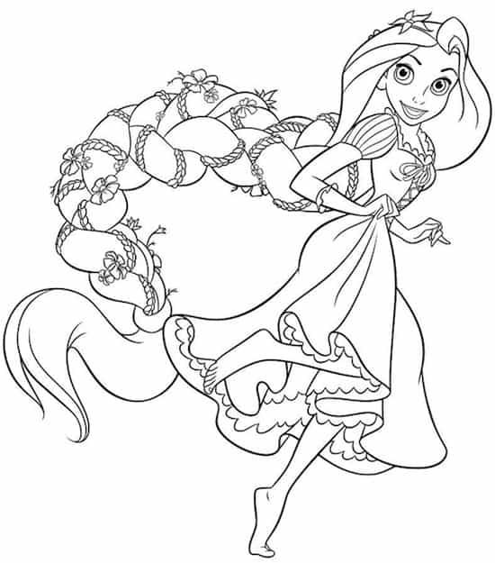 Disegno Della Principessa Rapunzel Da Stampare Gratis E Colorare