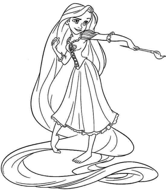 Principessa Rapunzel Che Dipinge Da Colorare Disegno Da