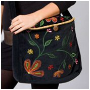 Black Velvet Bags with Embroidery
