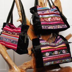 Black Velvet Bags with Ribbon Embroidery