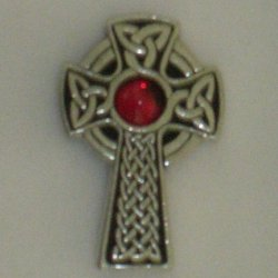 Celtic Cross Brooch Red