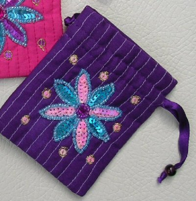 Sequined Padded Gift Bag Purple
