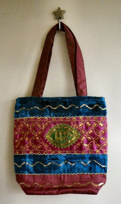 Sequined Velvet Bags Pink/Turquoise