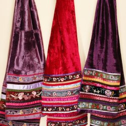 Hippy Velvet Scarves with Ribbon Embroidery