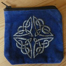 Celtic Velvet Purse Sky Blue