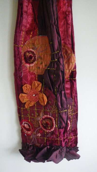Satin Velvet Scarves with Embroidery