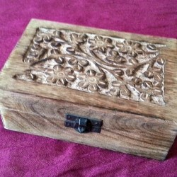 wooden storage box with flower motif