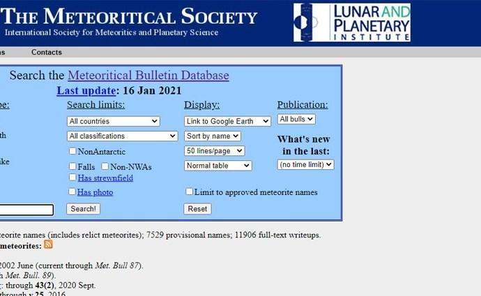 Meteoritical Bulletin Database