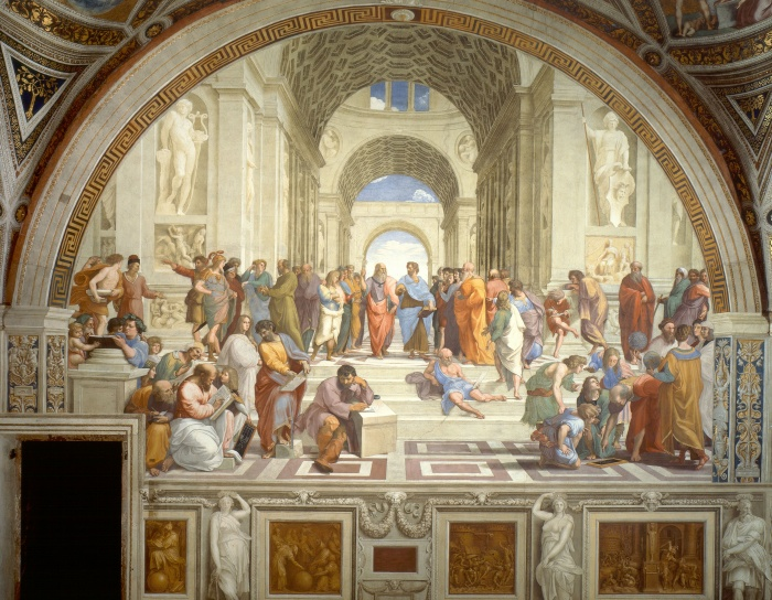 THE SCHOOL OF ATHENSAuthor: Raphael, 1509–1510Type: Fresco, 500 × 770 cmLocal: Vatican City, Apostolic PalaceThe School of Athens, or Scuola di Atene in Italian, is one of the most famous paintings by the Italian Renaissance artist Raphael. It was painted between 1510 and 1511 as a part of Raphael's commission to decorate with frescoes the rooms now known as the Stanze di Raffaello, in the Apostolic Palace in the Vatican. The Stanza della Segnatura was the first of the rooms to be decorated, and The School of Athens the second painting to be finished there, after La Disputa, on the opposite wall. The picture has long been seen as