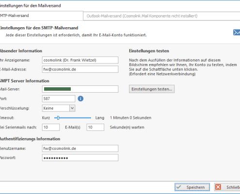 cosmoOffice - E-Mail-Einstellungen