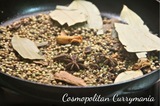 These spices, provided to me by Godrej Nature's basket, were roasted first and then ground to a very fine powder.