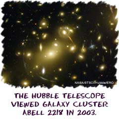 The Hubble telescope viewed the galaxy cluster Abell 2218 in 2003.