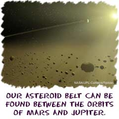 Our asteroid belt can be found between the orbits of Mars and Jupiter.