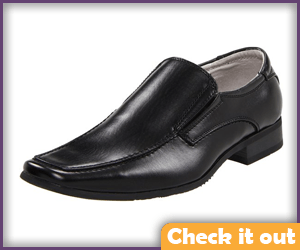 Black leather shoes.