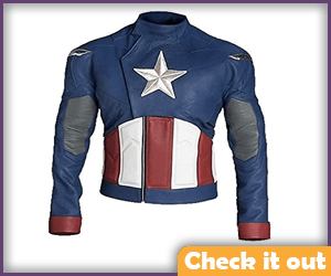 Leather Jacket - Red, White and Blue.