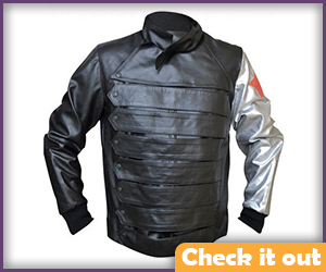 Winter Soldier Leather Jacket with Silver Arm.