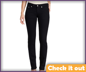Black Straight Leg Tight Jeans.