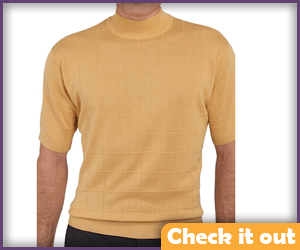 Light Orange Short-Sleeve Mock Turtleneck.