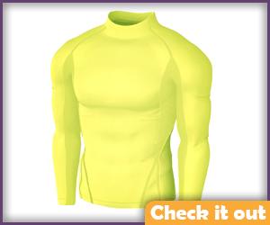 Yellow Long-Sleeve High-Neck Shirt.