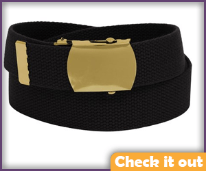 Black Belt with Military Style Gold Buckle.