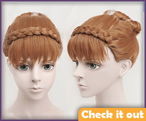 Anna Brunette Updo Wig with White Stripe.