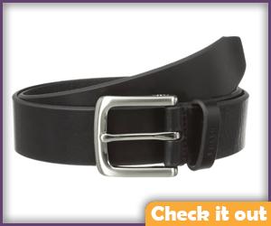 Black leather belt with a silver buckle.