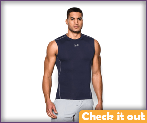 Navy Blue Sleeveless Compression Shirt.