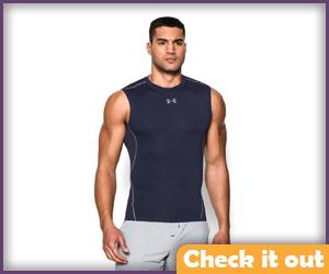 Navy Blue Sleeveless Compression Shirt.