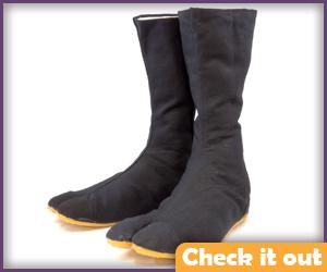 Black tabi boots.