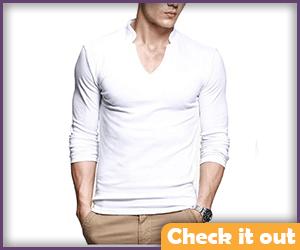 White V-Neck Quarter Sleeve Shirt.