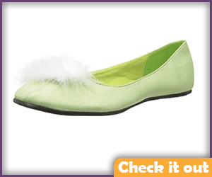 Green Flats with White Feather Puff.