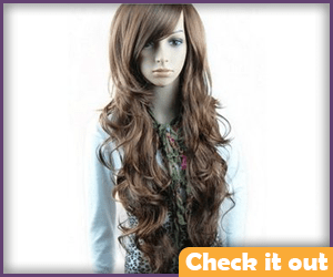Long Brown Curly Wig.